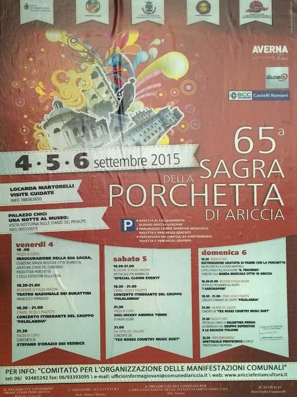 Il programma della sagra della porchetta di ariccia del 2015 Sagra di Ariccia 65° edizione