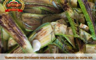 Fraschetta fai da te, vassoio con zucchine grigliate
