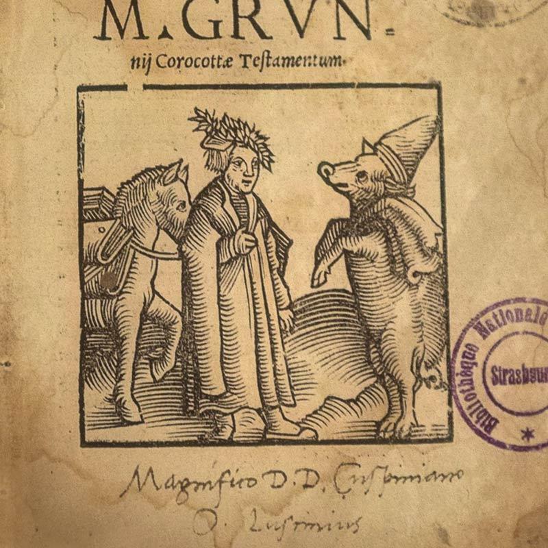 Il testamentum porcelli. Il Testamentum porcelli (Il testamento del maiale) è una breve scrittura latina, probabilmente della metà del IV secolo, che scherzosamente si pretende essere il testamento del maialino Marco Grunnius Corocotta.